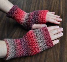 Everyday Fingerless Gloves. Free crochet pattern ~k8~