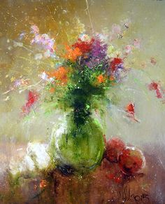 Russian Artists New Wave Painting - Flower Mix Bouquet by Igor Medvedev