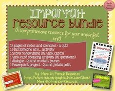 Are you looking for a complete resource to help you teach, reinforce, and assess the imparfait? This BUNDLE is full of practical and thorough notes and exercises, fun speaking activities, a game, a dialogue assessment, and a final project that your students will love!