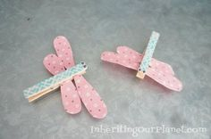 Adorable Dragonfly Clothespin Kids Craft made with duct tape and Washi tape