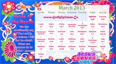 "March 2013 Calendar Printable Version , click on this link -> http://www.godlywoman.co/2013/02/godly-woman-daily-calendar-march-2013.html    Verse of the Month : Hence we can confidently say, ""The Lord is my helper; I will not be afraid. What can anyone do to Me? - Hebrews 13:6"