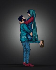 Love Heart Images, Cute Love Gif, Cute Love Pictures, Love Cartoon Couple, Cute Couple Art, Cute Love Cartoons, Couple Photoshoot Poses, Couple Photography Poses, Cute Muslim Couples