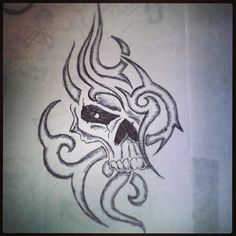 Tribal skull by: Katie Dille