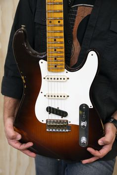 """The best of both worlds. Click this image to learn more about this and mashup, FCS Anniversary """"Stelecaster"""" Fender Stratocaster, Fender Guitars, Guitar Guy, Fender Custom Shop, Music Theory, 30th Anniversary, Music Instruments, Drums, Bass"""