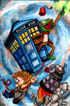 Dr Who meets the Mupets. Kermit is the eleventh Doctor (Matt Smith), Miss Piggy is River Song, Beaker is a Cyberman, and Gonzo is a Dalek. Tardis is the Tardis. Doctor Who, 10th Doctor, Dr Who, Fraggle Rock, Miss Piggy, Kermit The Frog, Dalek, Jim Henson, Matt Smith