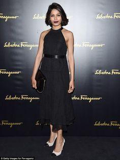 Freida Pinto.. Salvatore Ferragamo Spring 2015 - dress, heels and clutch.. #MFW #Fall2015 #SalvatoreFerragamo