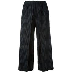 Pleats Please By Issey Miyake pleated culottes ($430) ❤ liked on Polyvore featuring pants, capris, black, pleated trousers, pleated pants and pleats please by issey miyake