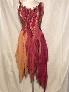 Autumn Leaf Inspired Dress Pumpkin Falling Leaf Orange Red Rust Boho Bohemian Fairy Tale Rustic Wedding (Welcome Custom Order)