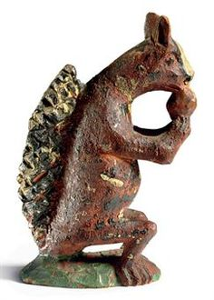Price Realized           $11,875 A CARVED AND PAINTED SQUIRREL   WILHELM SCHIMMEL (1817-1890), CUMBERLAND COUNTY, PENNSYLVANIA, LAST QUARTER 19TH CENTURY  6 in. high, 4 in. wide, 2 in. deep    Pre-Lot Text  PROPERTY FROM THE ESTATE OF ALASTAIR BRADLEY MARTIN, INCLUDING WORKS FROM THE GUENNOL COLLECTION