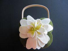 Flower Girl Basket Ivory Wedding water lily flower leaves choose your colors #flowergirlbasket by ArtisanFeltStudio on Etsy, $34.00