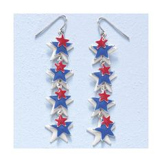 Enameled Silverplate Stars Dangle Earrings ($15) ❤ liked on Polyvore featuring jewelry, earrings, long earrings, star jewelry, silver plated earrings, star dangle earrings and french hook earrings