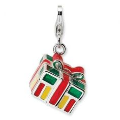 7529478f2 Give a gift with this Sterling Silver 3-D Enameled Gift Box Charm!