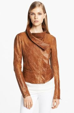Donna Karan Casual Luxe Vintage Leather Moto Jacket available at #Nordstrom