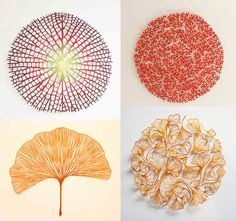 "Australian artist Meredith Woolnough creates elaborate embroideries that mimic delicate forms of nature like leaves and coral. ""I have been collecting skeletonized leaves for as long as I can remember,"" says the artist, whose ""traceries"" capture the beauty and fragility of natu"