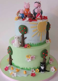 Cats ducks peppa pig cake