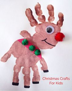 DIY Christmas Crafts for Kids - Handprint reindeer finger painting idea.