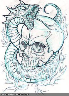 Skull & Snake - Pencil line art