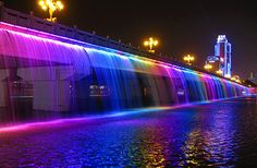 The Banpo Bridge is a major bridge in downtown Seoul over the Han River, South Korea