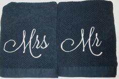 Mr. and Mrs. Oversized Bath Towel sets in Navy and Iridescent will make the…
