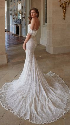 Modern Country Wedding Dresses The scallop detailing and draped one shoulder of the beautiful Galia Lahav mermaid gown made with a delicate silk tulle and embroidered with scattered pearls and shimmery sequins. Fit And Flare Wedding Dress, Country Wedding Dresses, Black Wedding Dresses, Boho Wedding Dress, Bridal Dresses, Wedding Gowns, One Shoulder Wedding Dress, Mermaid Dresses, Mermaid Gown