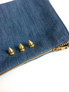 Denim Carter Bag with Spikes by sugarlux on Etsy, $10.00