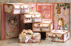Paradise of Stamps: Challenge # 1 team 1 reminder - Muz 3d Paper Crafts, Scrapbook Paper Crafts, Diy And Crafts, Exploding Gift Box, Creative Box, Step Cards, Shabby Chic Crafts, Fun Fold Cards, Mini Albums