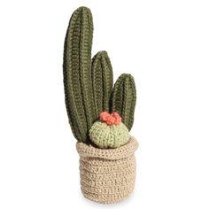 Statuette cactus en coton H.20cm KNIT