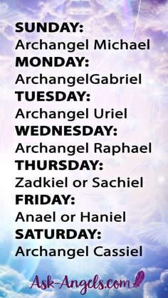 The 7 archangels names and meanings correlate to each day of the week. Learn more about the seven archangels and the roles they play in your life. Archangels Names, Seven Archangels, Catholic Archangels, Archangel Cassiel, Reiki, Archangel Prayers, Archangel Raphael Prayer, Raphael Angel, St Michael Archangel Prayer