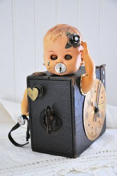 Creepy Assemblage doll  from vintage by Twistedcopperforest, $85.00