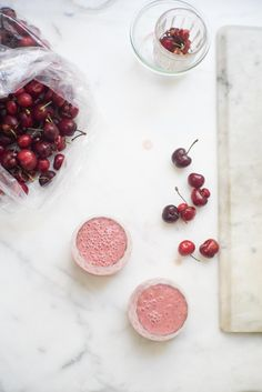 Cherry Smoothie Recipe - You've caught me in the middle of a cherry bender, and in this case I've tripled-down on all things red - cold-brewed hibiscus water (easy to make), blood oranges, and plump, sweet cherries. They come together in a fantastic cherry smoothie. - from 101Cookbooks.com
