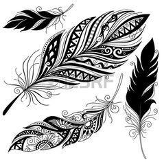 Vecteur Peerless d coratif Feather la conception Tribal Tatouage Banque d'images
