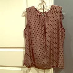 Trina Turk Silk Sleeveless Polka Dot Top Trina Turk sleeveless top in beige with corresponding polka dot pattern. Keyhole back neckline with loop & button closure. 100% silk. Worn only twice, in like new condition. Recently dry cleaned. Trina Turk Tops