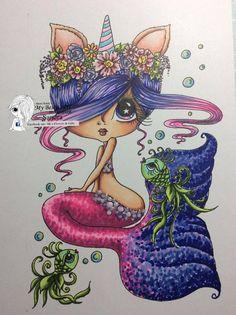 Unicorns And Mermaids, Mermaids And Mermen, Mermaid Drawings, Mermaid Art, Watercolor Mermaid, Big Eyes Artist, Doodle, Line Art Images, Mermaid Coloring