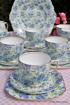 Vintage China Vintage Blue and Green Chintz China Tea Set Cake Plate Vintage Dishes, Vintage China, Vintage Tea, Tea Cup Saucer, Tea Cups, China Tea Sets, Teapots And Cups, My Cup Of Tea, Coffee Set