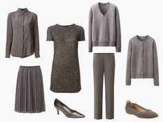A Grey Wardrobe with Grey Accessories Shirt – Piazza Sempione, grey sweater – Uniqlo,  cardigan – Uniqlo, trousers – Uniqlo,  tweed dress – Dsquared2, pleated skirt – Uniqlo, pumps – Bella Vita, flats - Chloé