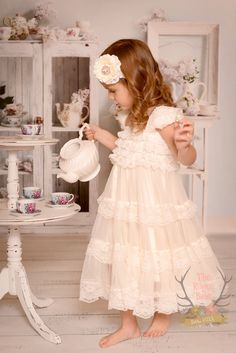 a1eef392df4 Lace Ruffle Dress Ivory with Cap Sleeves - Flower Girl - Rustic Wedding - 3T