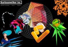 Spread 2 - KarlssonWilker  KW staat gekend voor zijn zeer abstracte uitwerkingen. Ze maken ook minder abstracte items zoals buttons en T-shirts, maar er wordt altijd in een strakke stijl gewerkt.   Ze hebben zeer originele manieren van uitwerken en creëren altijd een soort van ruimtelijk 3D-effect.  Wat nog opvalt is dat KW meestal schreefloze fonts gebruikt, en met zeer felle en contrasterende kleuren werkt.