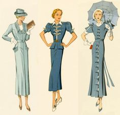 1930s fashion, womens tailored two piece suits, they follow the natural curves and waistline, longer (went to mid calf) straight skirt.