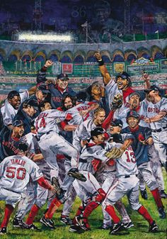 """The 2004 Boston Red Sox in """"Boston Champs"""" by Opie Otterstad."""
