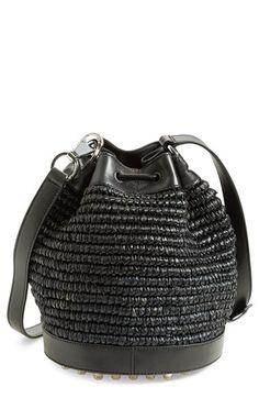 Alexander Wang 'Alfa' Raffia & Leather Bucket Bag