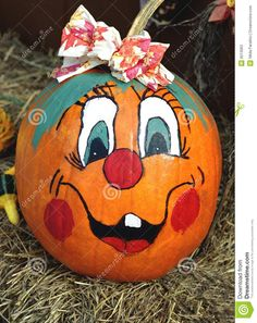 Stock Photos Happy Face Painted Pumpkin