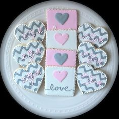 Custom Chevron Monogrammed Hearts and Love Squares by peapodscookies