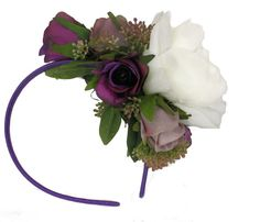 Spring Racing Floral Headband Fascinator with Purple Roses