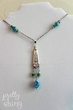 Antique Silverware Spoon Pendant Necklace with Blue and Green