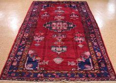 6 x 10 Persian LURI Tribal Nomadic Hand Knotted Wool RED BLUE PINK Oriental Rug #PersianLuriTribalNomadicGeometric