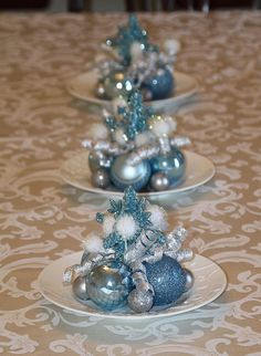 Set of three whimsical Christmas centerpieces for your holiday table! These centerpieces are made of light blue and silver shatterproof Teal Christmas, Silver Christmas Decorations, Frozen Christmas, Winter Wonderland Christmas, Christmas Plates, Christmas Mantels, Christmas Centerpieces, Simple Christmas, Christmas Crafts