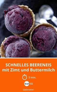 Schnelles Beereneis Quick berry ice cream – with cinnamon and buttermilk – smarter – calories: 93 kcal – time: 5 min. Healthy Foods To Eat, Healthy Recipes, Baby Food Recipes, Cooking Recipes, Frozen Yoghurt, Homemade Baby Foods, Homemade Ice, Ice Ice Baby, Nice Cream