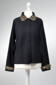 F.W. Adlmüller, 1950's, Black Wool, Gold metal embroidery Black Wool, 1950s, Embroidery, Blouse, Metal, Long Sleeve, Sleeves, Gold, Women