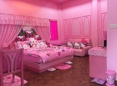 Find images and videos about pink, cat and hello kitty on We Heart It - the app to get lost in what you love. Pink Bedroom Design, Neon Bedroom, Cat Bedroom, Room Ideas Bedroom, Bedroom Decor, Hello Kitty Zimmer, Hello Kitty Haus, Hello Kitty Bedroom Set, Hello Kitty Rooms