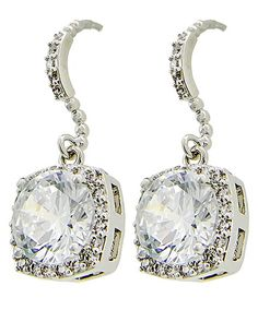 Rhodiumized / Clear Cubic Zirconia / Lead&nickel Compliant / Fish Hook / Bridal / Prom / Square / Dangle / Earring Set